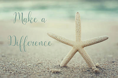 Restaurant Inspired Art Photograph - Make A Difference Starfish Vintage Set 2 by Terry DeLuco
