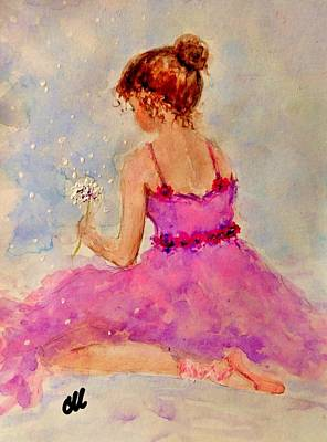 Little Ballerina Painting - Make A Wish..16 by Cristina Mihailescu