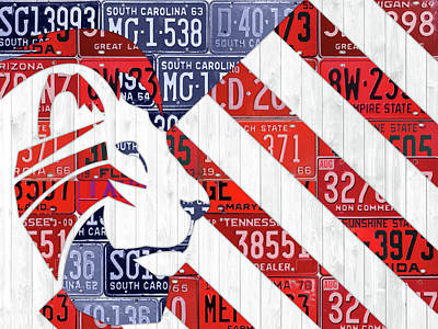 America Mixed Media - Make America Great Again Maga Flag Art Trump Recycled Vintage License Plates Art by Design Turnpike