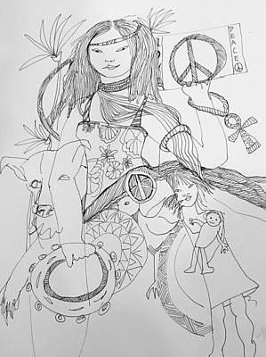Wall Art - Drawing - Make Love Not War  by Rosalinde Reece