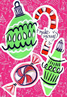 Friend Holiday Card Mixed Media - Make Merry by Kristy Lankford