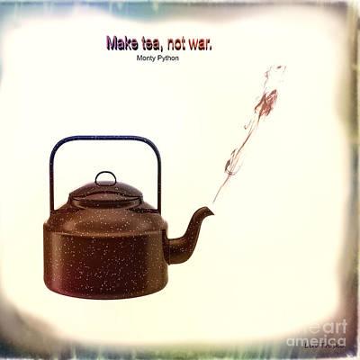 Burmese Python Mixed Media - Make Tea, Not War by Linda Troski