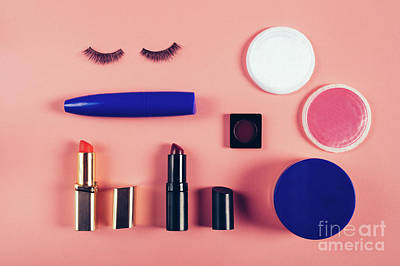 Photograph - Make Up Supplies In A Composition On A Pink Background. by Michal Bednarek