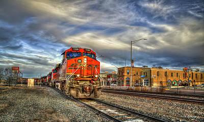 Photograph - Make Way B N S F Train Gallup New Mexico Art by Reid Callaway