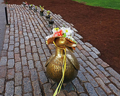 Photograph - Make Way For Ducklings Spring Bonnets Boston Ma Public Garden by Toby McGuire