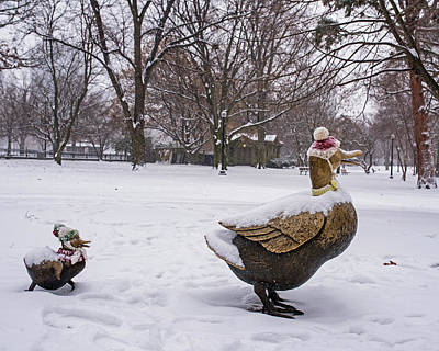 Photograph - Make Way For Ducklings Winter Hats Boston Public Garden by Toby McGuire