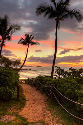 Art Print featuring the photograph Makena Sunset Path by Susan Rissi Tregoning