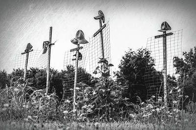 Black And White Rural Photograph - Makeshift Scarecrows by Tom Mc Nemar