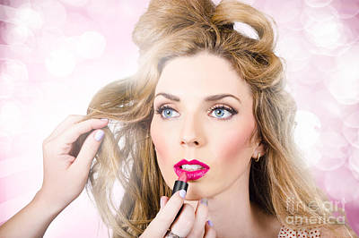 Photograph - Makeup Artist Applying Lipstick On Beauty Model by Jorgo Photography - Wall Art Gallery