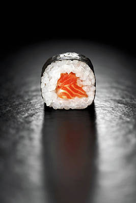 Roll Wall Art - Photograph - Maki Sushi Roll With Salmon by Johan Swanepoel