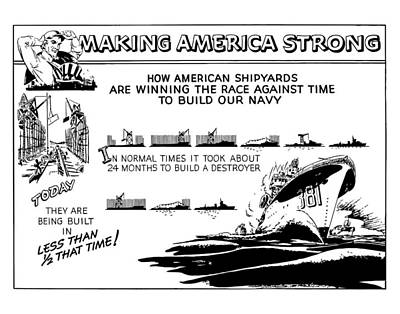 Us Navy Mixed Media - Making America Strong Ww2 Cartoon by War Is Hell Store