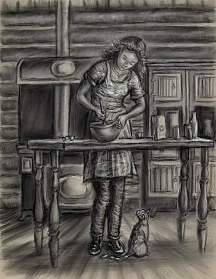 Drawing - Making Bread In The Cabin by Dawn Senior-Trask
