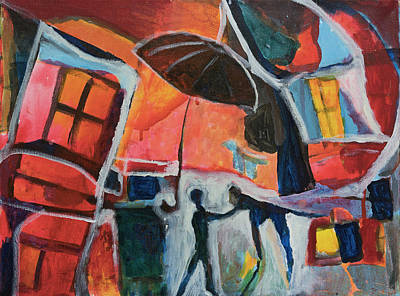 Painting - Making Friends Under The Umbrella by Susan Stone