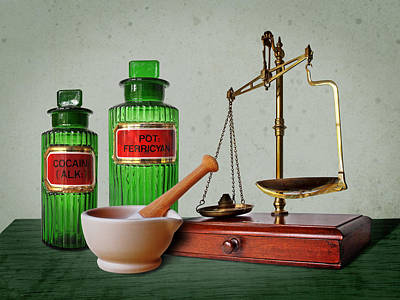 Photograph - Making Potions - Pharmacy Bottles With Weighing Scales And Pestle And Mortar  by Gill Billington