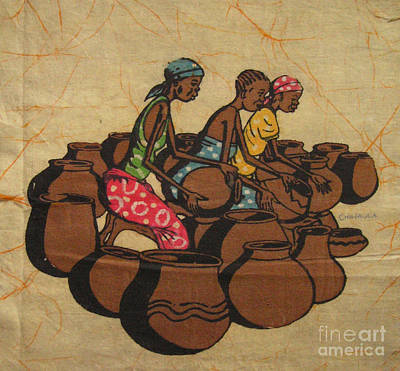African Village Scene Painting - Making Pots by Mussa Chiwaula