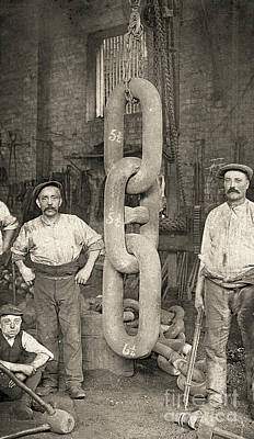 Industrial Age Photograph - Making The Titanic's Anchor Chain At Hingley And Sons by English School