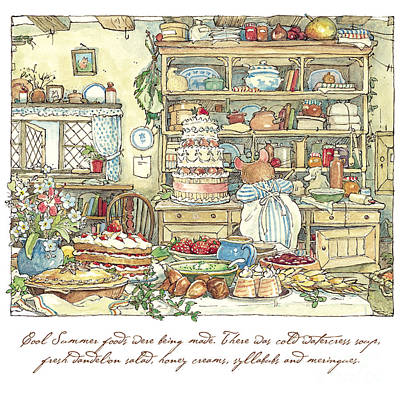British Drawing - Making The Wedding Cake by Brambly Hedge