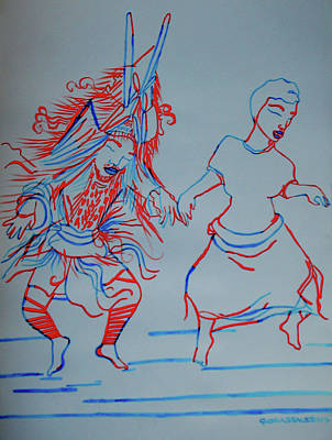 Painting - Makishi Traditional Dance Zambia by Gloria Ssali