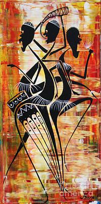 Makonde And Mask 5 Art Print by Abu Artist