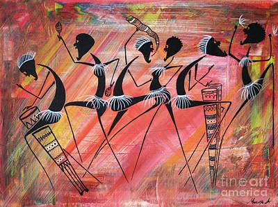 Masai Painting - Makonde Dance 3 by Abu Artist