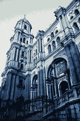 Painting - Malaga, Cathedral - 01 by Andrea Mazzocchetti
