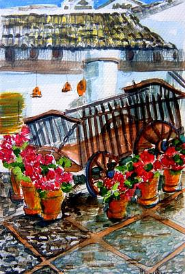 Red Roof Drawing - Malaga Spain Flower Cart by Mindy Newman
