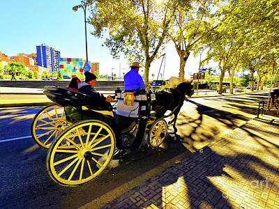 Malaga Paseo Del Parque Romantic Horse And Carriage Ride Art Print by Wilf Doyle
