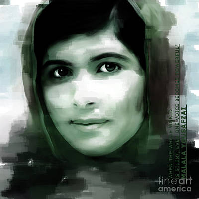 Human Rights Painting - Malala Yousaf Zai 012 by Gull G