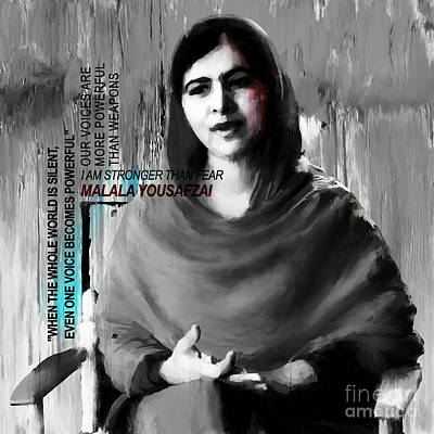 Nobel Peace Prize Painting - Malala Yousaf Zai 03 by Gull G