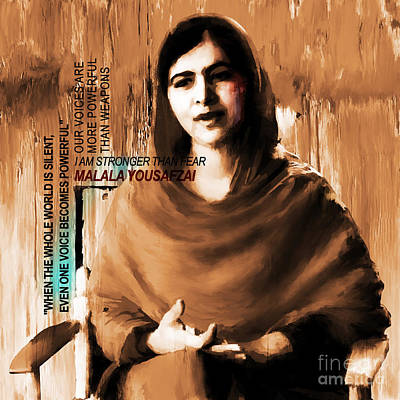 Rights Painting - Malala Yousaf Zai 04 by Gull G