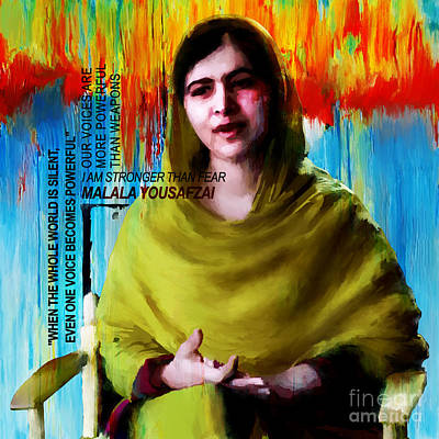 Rights Painting - Malala Yousaf Zai 05 by Gull G