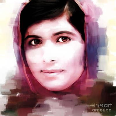 Rights Painting - Malala Yousaf Zai 14 by Gull G
