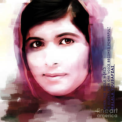 Nobel Peace Prize Painting - Malala Yousaf Zai 15 by Gull G