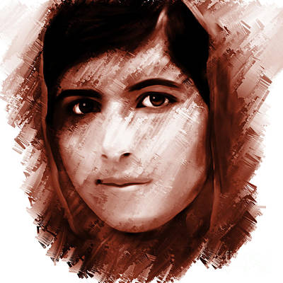 Human Rights Painting - Malala Yousaf Zai 16 by Gull G