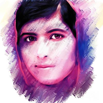 Human Rights Painting - Malala Yousaf Zai 17 by Gull G