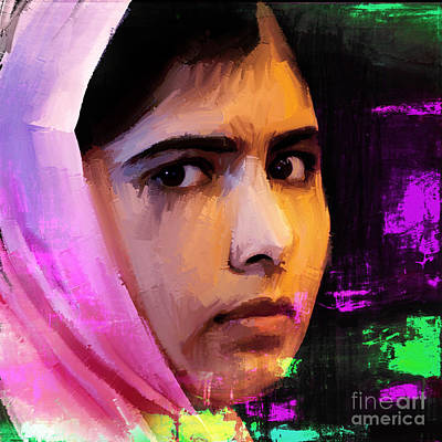 Rights Painting - Malala Yousaf Zai 18 by Gull G