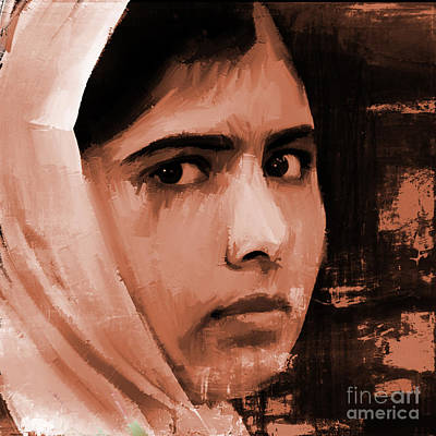 Nobel Peace Prize Painting - Malala Yousaf Zai 20 by Gull G