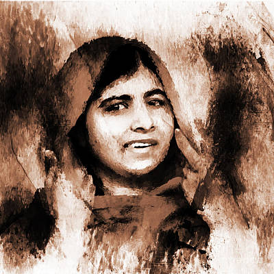 Nobel Peace Prize Painting - Malala Yousaf Zai 22 by Gull G