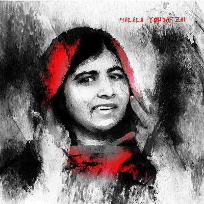 Nobel Peace Prize Painting - Malala Yousaf Zai 23 by Gull G