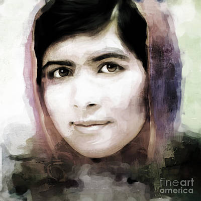 Rights Painting - Malala Yousaf Zai 24 by Gull G