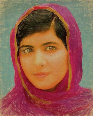 Humanitarian Mixed Media - Malala Yousafzai by Dan Sproul