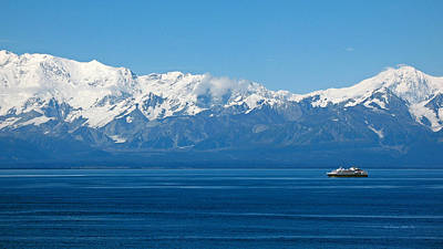 Photograph - Malaspina Glacier And Cruise Ship. Alaska Seascapes by Connie Fox
