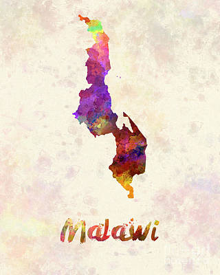 Malawi Painting - Malawi In Watercolor by Pablo Romero