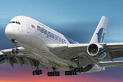 Mixed Media - Malaysia Airlines Airbus A380-841 by Smart Aviation
