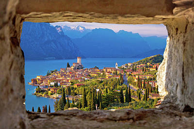 Photograph - Malcesine And Lago Di Garda Aerial View Through Stone Window by Brch Photography