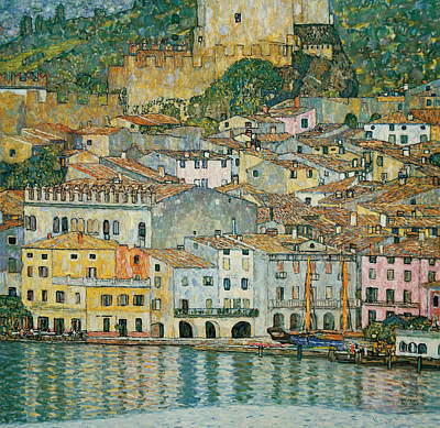 Lakeside Painting - Malcesine  Lake Garda by Gustav Klimt
