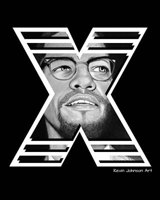 Malcolm X Art Drawing - Malcolm by Kevin Johnson Art