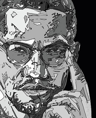 Monochromatic Digital Art - Malcolm X by Bekim Art