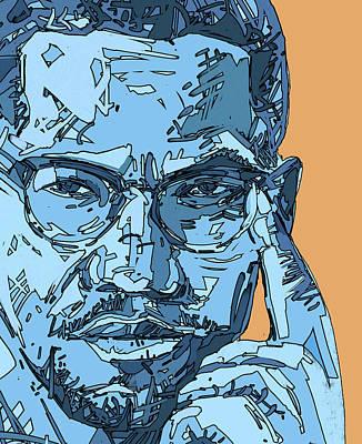 Digital Art - Malcolm X Blue And Orange by Bekim Art