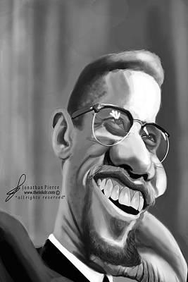 Malcolm X Caricature Art Print by Jonathan Pierce